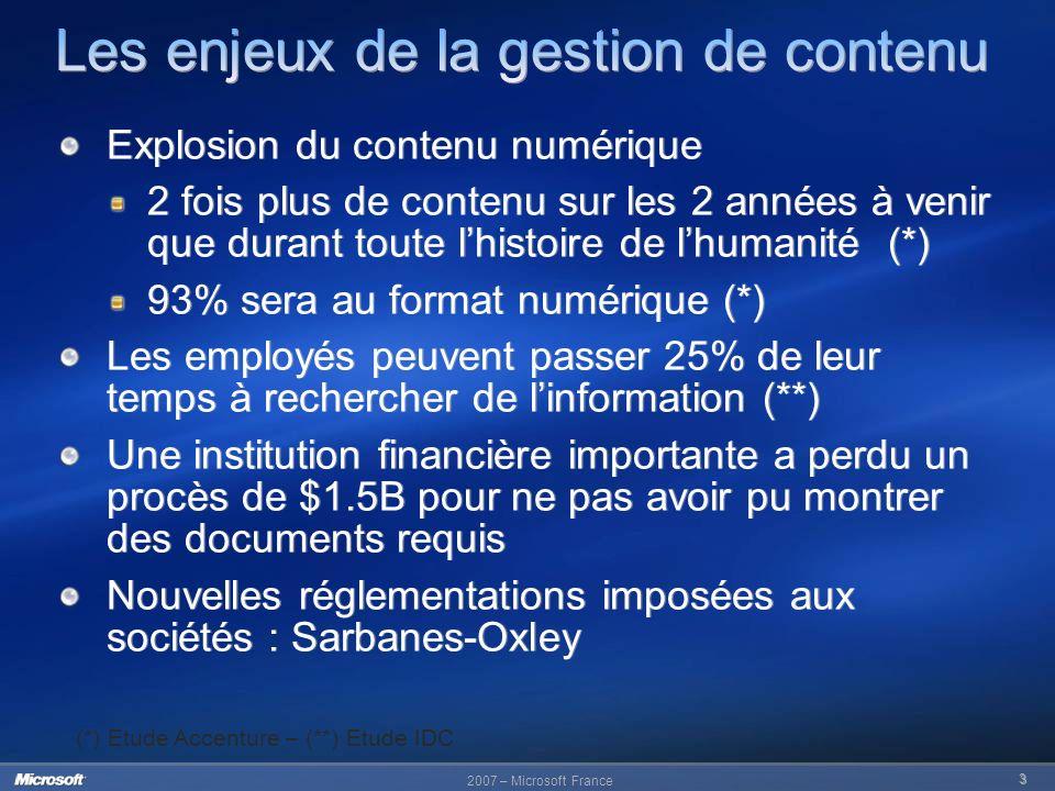 2007 – Microsoft France 3 Explosion du contenu numérique 2 fois plus de contenu sur les 2 années à venir que durant toute lhistoire de lhumanité (*) 9