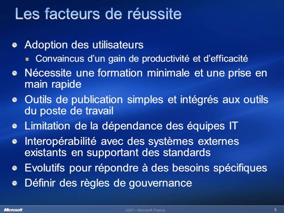 2007 – Microsoft France 5 Adoption des utilisateurs Convaincus dun gain de productivité et defficacité Nécessite une formation minimale et une prise e