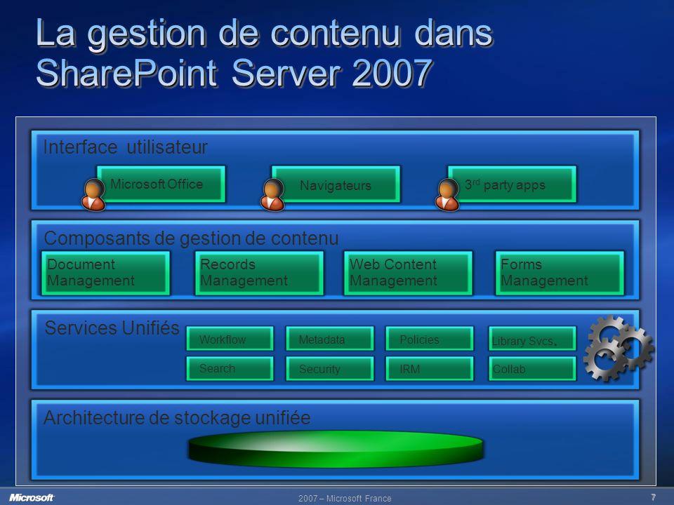 2007 – Microsoft France 7 Architecture de stockage unifiée Services Unifiés Composants de gestion de contenu Interface utilisateur Records Management