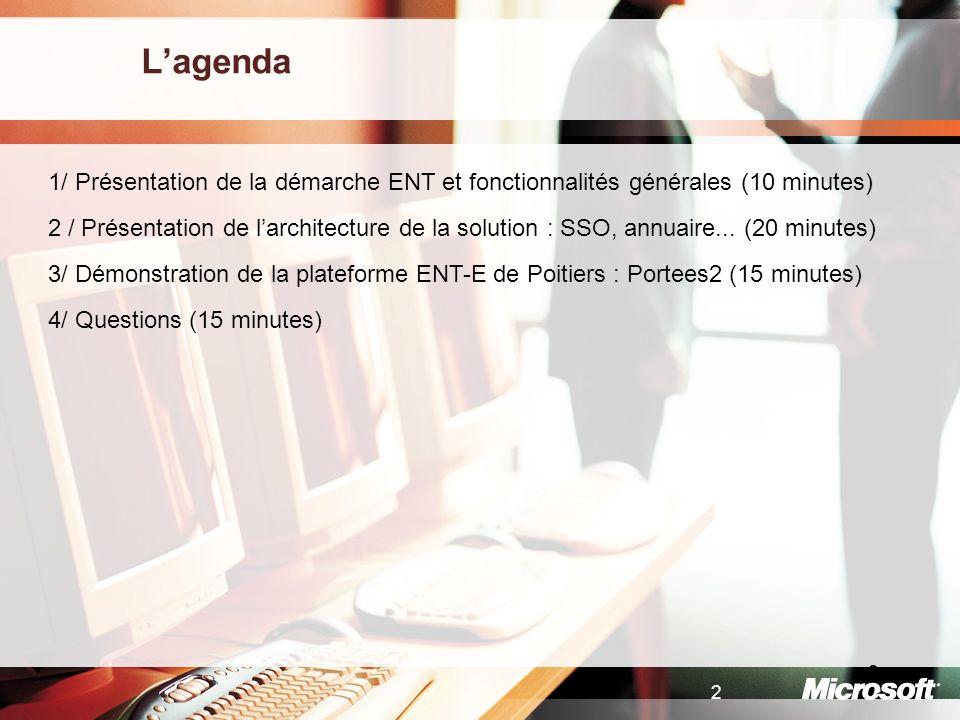 2 2 Lagenda 1/ Présentation de la démarche ENT et fonctionnalités générales (10 minutes) 2 / Présentation de larchitecture de la solution : SSO, annua