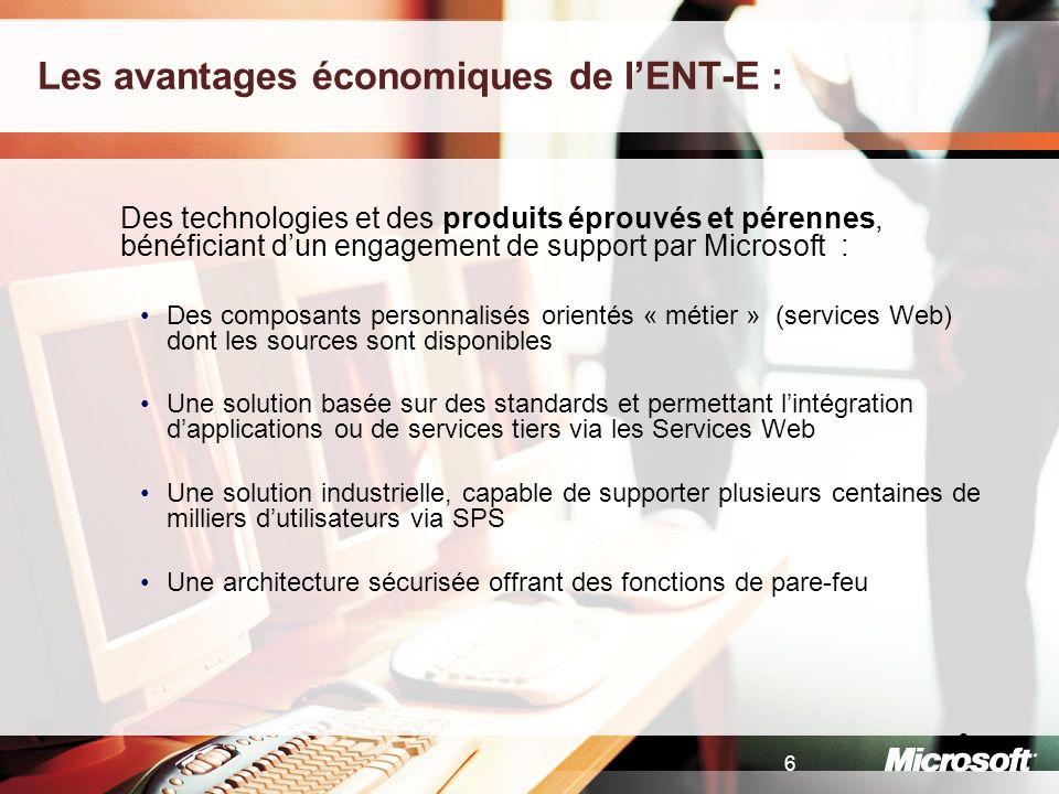6 6 Les avantages économiques de lENT-E : Des technologies et des produits éprouvés et pérennes, bénéficiant dun engagement de support par Microsoft :