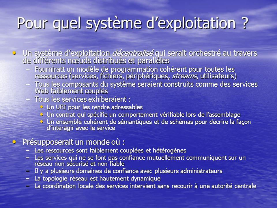 Pour quel système dexploitation ? Un système dexploitation décentralisé qui serait orchestré au travers de différents nœuds distribués et parallèles U