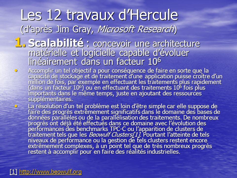 Les 12 travaux dHercule (daprès Jim Gray, Microsoft Research) 1. Scalabilité : concevoir une architecture matérielle et logicielle capable dévoluer li