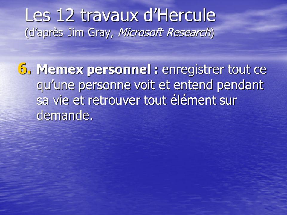 Les 12 travaux dHercule (daprès Jim Gray, Microsoft Research) 6. Memex personnel : enregistrer tout ce quune personne voit et entend pendant sa vie et