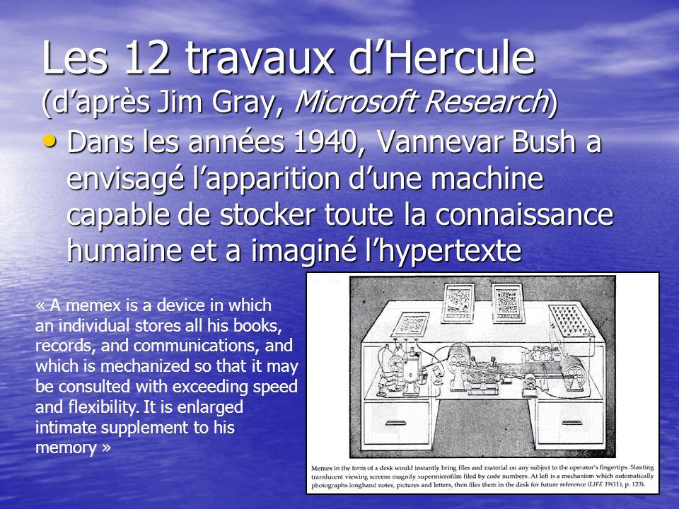Les 12 travaux dHercule (daprès Jim Gray, Microsoft Research) Dans les années 1940, Vannevar Bush a envisagé lapparition dune machine capable de stock