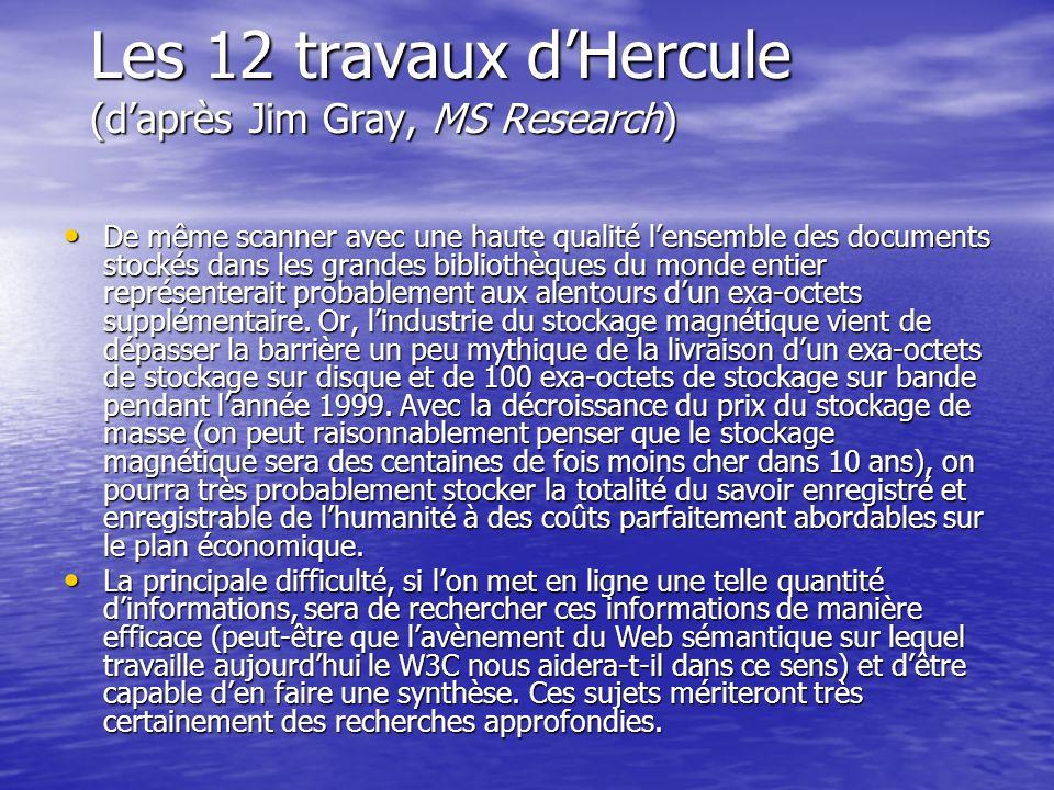 Les 12 travaux dHercule (daprès Jim Gray, MS Research) De même scanner avec une haute qualité lensemble des documents stockés dans les grandes bibliot