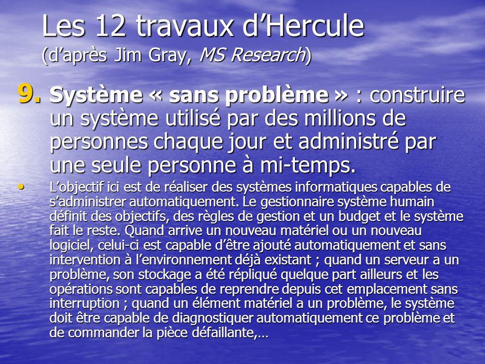 Les 12 travaux dHercule (daprès Jim Gray, MS Research) 9. Système « sans problème » : construire un système utilisé par des millions de personnes chaq