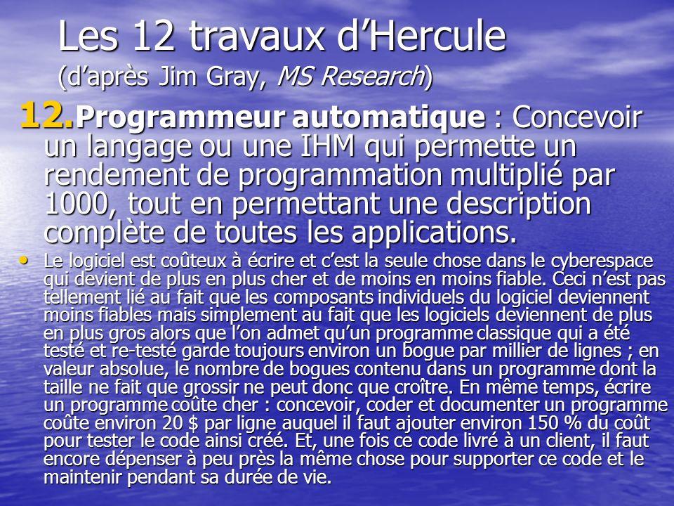 Les 12 travaux dHercule (daprès Jim Gray, MS Research) 12. Programmeur automatique : Concevoir un langage ou une IHM qui permette un rendement de prog