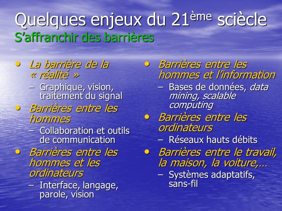 Quelques enjeux du 21 ème sciècle Saffranchir des barrières La barrière de la « réalité » La barrière de la « réalité » –Graphique, vision, traitement