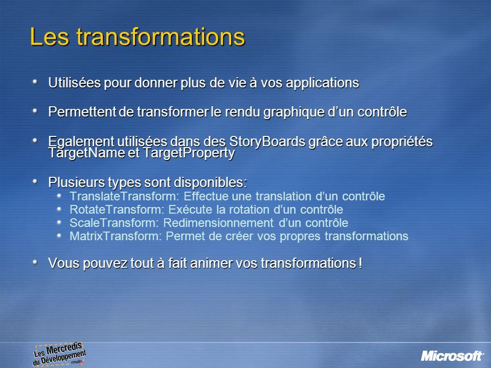 Les transformations Utilisées pour donner plus de vie à vos applications Permettent de transformer le rendu graphique dun contrôle Egalement utilisées