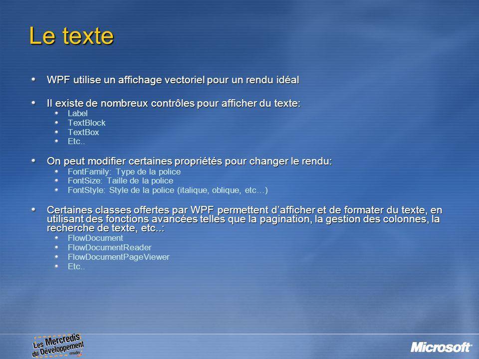 Le texte WPF utilise un affichage vectoriel pour un rendu idéal Il existe de nombreux contrôles pour afficher du texte: Label TextBlock TextBox Etc..