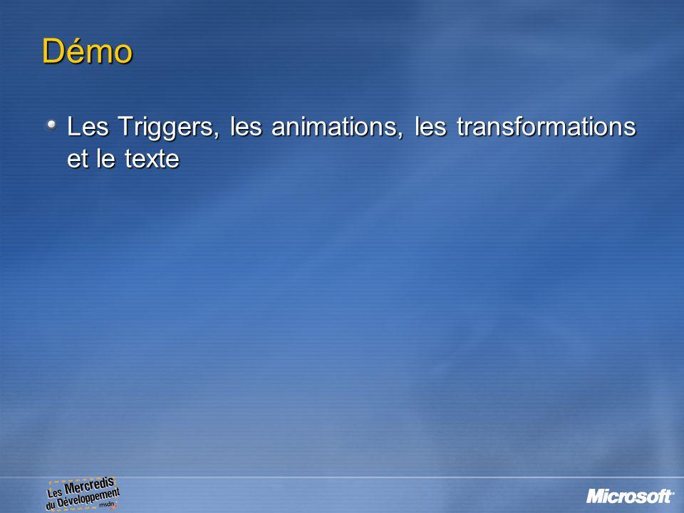 Démo Les Triggers, les animations, les transformations et le texte