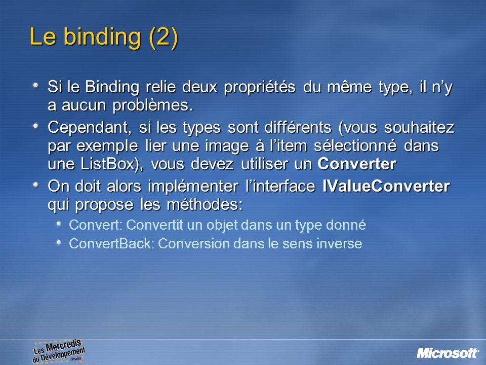 Le binding (2) Si le Binding relie deux propriétés du même type, il ny a aucun problèmes. Cependant, si les types sont différents (vous souhaitez par