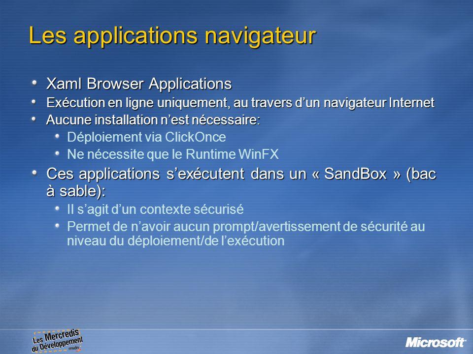 Les applications navigateur Xaml Browser Applications Exécution en ligne uniquement, au travers dun navigateur Internet Aucune installation nest néces