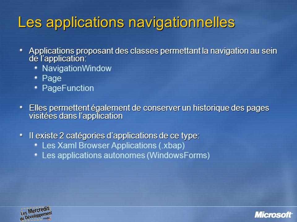 Les applications navigationnelles Applications proposant des classes permettant la navigation au sein de lapplication: NavigationWindow Page PageFunct