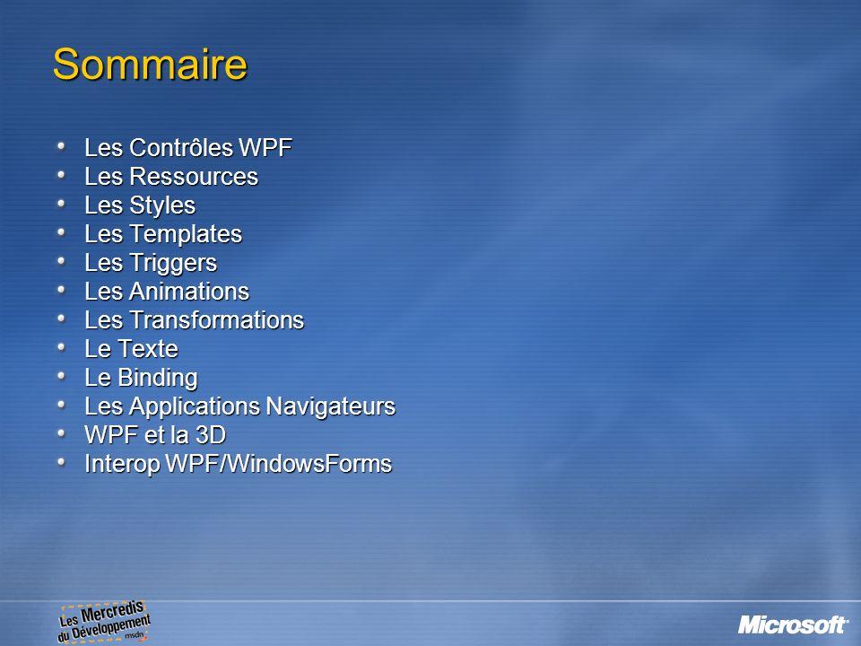 Sommaire Les Contrôles WPF Les Ressources Les Styles Les Templates Les Triggers Les Animations Les Transformations Le Texte Le Binding Les Application