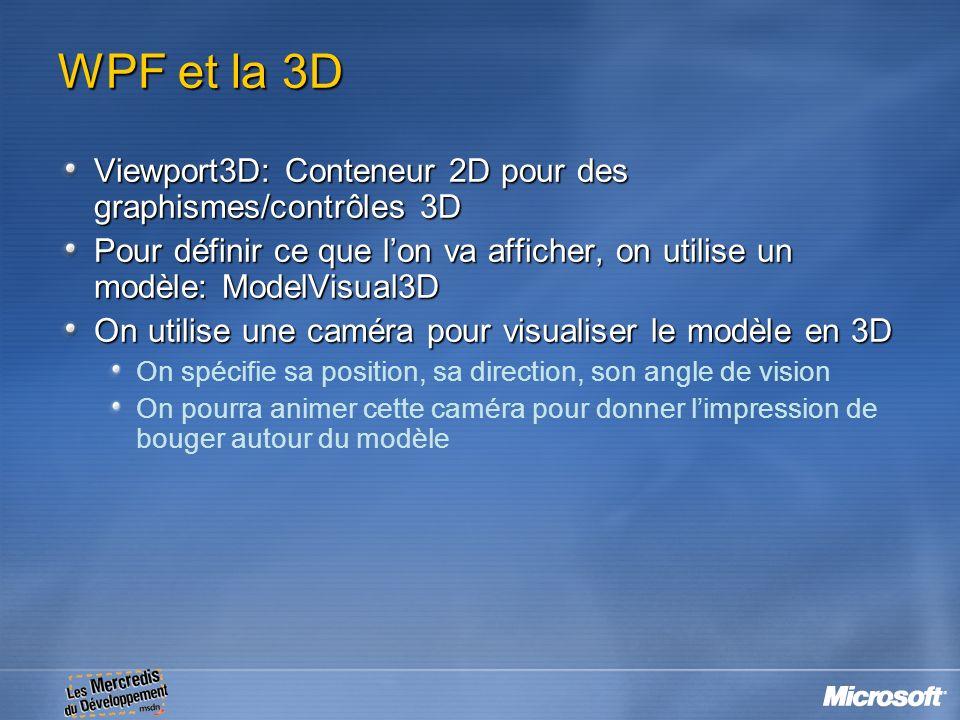 WPF et la 3D Viewport3D: Conteneur 2D pour des graphismes/contrôles 3D Pour définir ce que lon va afficher, on utilise un modèle: ModelVisual3D On uti