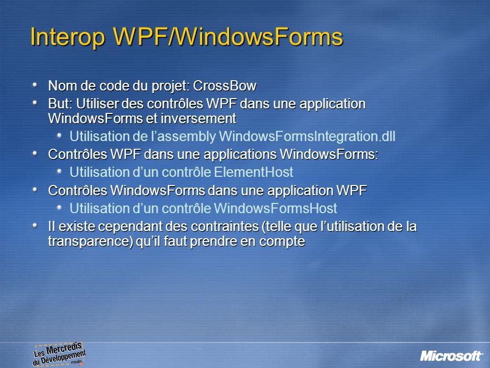 Interop WPF/WindowsForms Nom de code du projet: CrossBow But: Utiliser des contrôles WPF dans une application WindowsForms et inversement Utilisation
