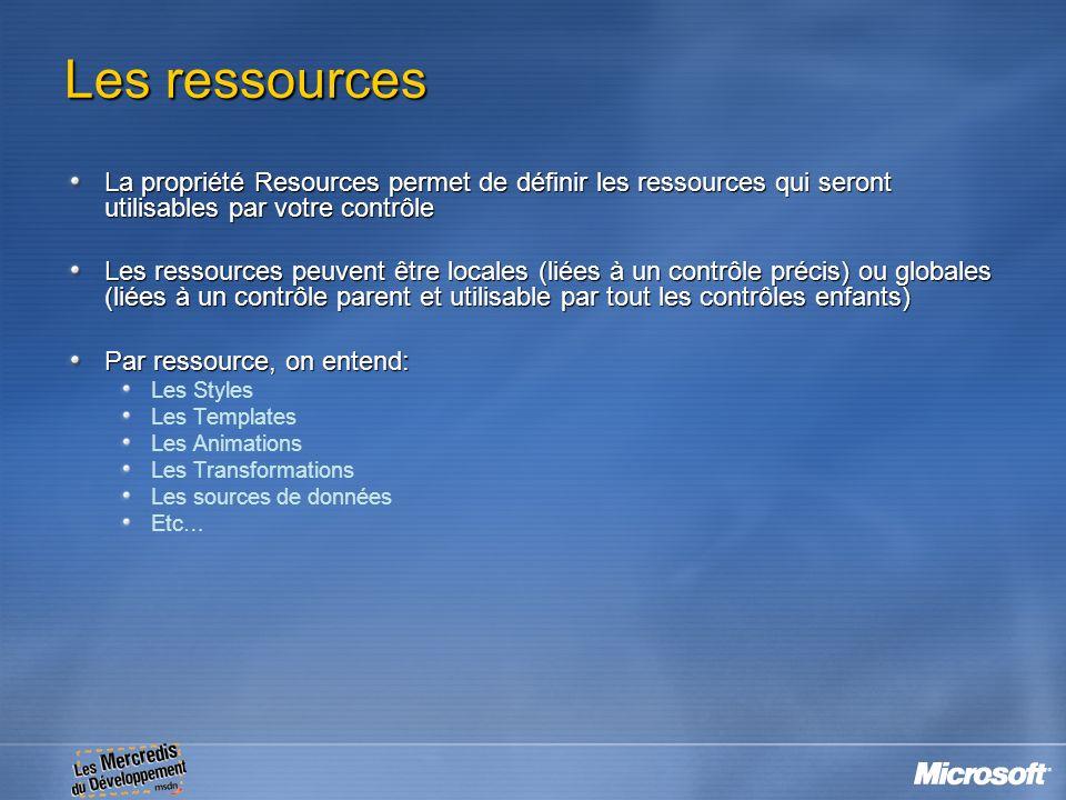 Les ressources La propriété Resources permet de définir les ressources qui seront utilisables par votre contrôle Les ressources peuvent être locales (