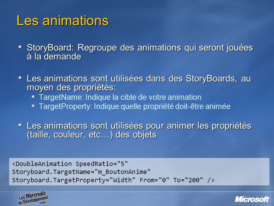 Les animations StoryBoard: Regroupe des animations qui seront jouées à la demande Les animations sont utilisées dans des StoryBoards, au moyen des pro