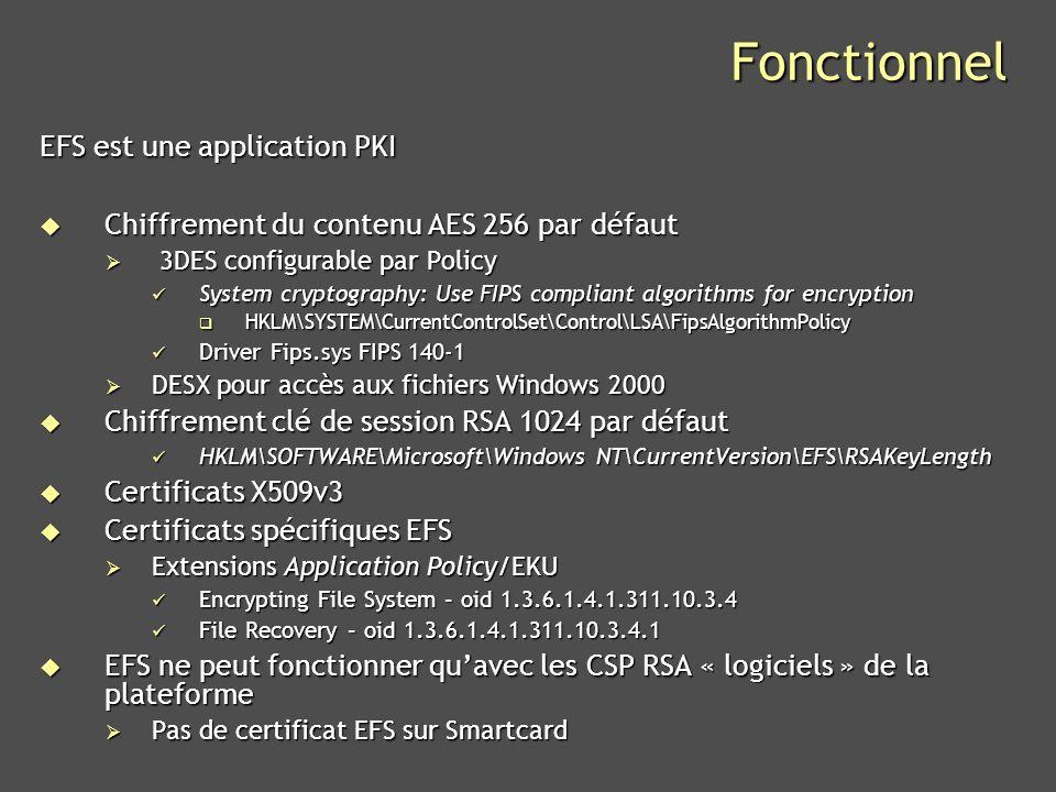 Microsoft Confidential 6 Fonctionnel Modèle dit « data recovery » (en contraste avec « key recovery ») Modèle dit « data recovery » (en contraste avec « key recovery ») Mise en œuvre optionnelle dune politique de récupération Mise en œuvre optionnelle dune politique de récupération Agents de récupération (DRA) Agents de récupération (DRA) File Encryption Key (FEK) File Encryption Key (FEK) Chiffrement RSA de la FEK n fois avec clés publiques des n entités qui devront accéder au fichier Chiffrement RSA de la FEK n fois avec clés publiques des n entités qui devront accéder au fichier DDF Key Ring – Data Decryption Field – Utilisateurs DDF Key Ring – Data Decryption Field – Utilisateurs DRF Key Ring – Data Recovery Field – Agents de récupération (DRA) DRF Key Ring – Data Recovery Field – Agents de récupération (DRA) Peut être vide (pas de politique de récupération) Peut être vide (pas de politique de récupération) Key Rings font partie du fichier (metadata NTFS) Key Rings font partie du fichier (metadata NTFS) DDF DDF Chiffrement RSA de la FEK DDF Key Ring
