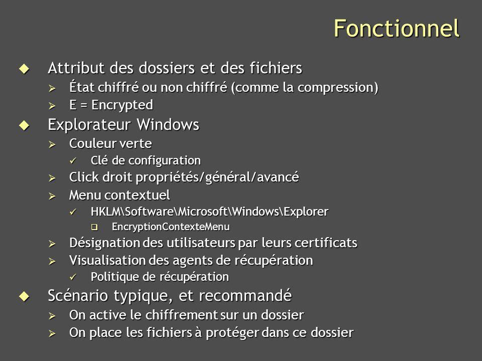 Microsoft Confidential 38 Best Practices Data recovery vs key recovery Data recovery est spécifique à EFS Data recovery est spécifique à EFS Ne nécessite pas dinfra PKI (certificats auto-signés) Ne nécessite pas dinfra PKI (certificats auto-signés) Récupération fichier par fichier Récupération fichier par fichier Key recovery est une fonction de linfrastructure PKI Key recovery est une fonction de linfrastructure PKI CA Windows CA Windows Récupération globale Récupération globale On peut cumuler les deux fonctions On peut cumuler les deux fonctions CA dEntreprise CA dEntreprise Auto-enrolement pour les certificats EFS avec séquestre des clés Auto-enrolement pour les certificats EFS avec séquestre des clés Ou nen mettre en œuvre aucune Ou nen mettre en œuvre aucune Selon la politique de lentreprise Selon la politique de lentreprise