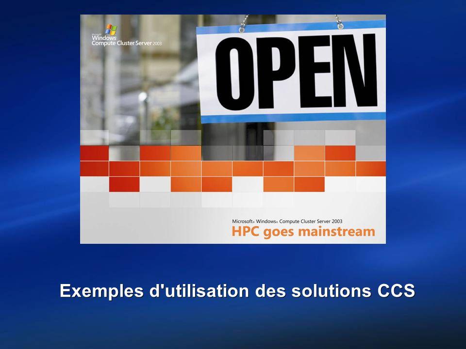 Exemples d utilisation des solutions CCS