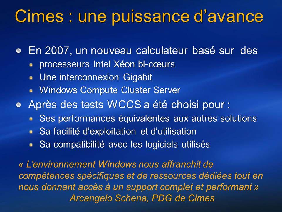 Cimes : une puissance davance En 2007, un nouveau calculateur basé sur des processeurs Intel Xéon bi-cœurs Une interconnexion Gigabit Windows Compute Cluster Server Après des tests WCCS a été choisi pour : Ses performances équivalentes aux autres solutions Sa facilité dexploitation et dutilisation Sa compatibilité avec les logiciels utilisés En 2007, un nouveau calculateur basé sur des processeurs Intel Xéon bi-cœurs Une interconnexion Gigabit Windows Compute Cluster Server Après des tests WCCS a été choisi pour : Ses performances équivalentes aux autres solutions Sa facilité dexploitation et dutilisation Sa compatibilité avec les logiciels utilisés « Lenvironnement Windows nous affranchit de compétences spécifiques et de ressources dédiées tout en nous donnant accès à un support complet et performant » Arcangelo Schena, PDG de Cimes