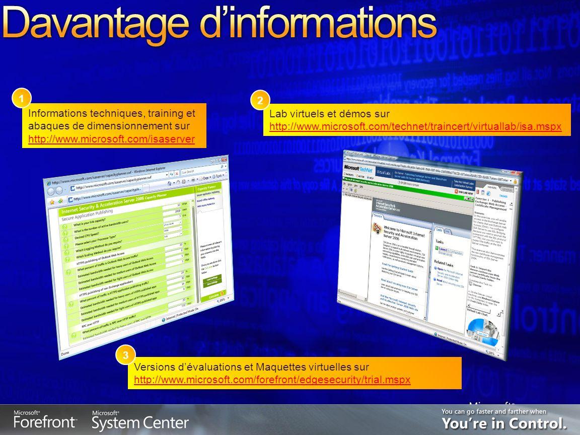 Informations techniques, training et abaques de dimensionnement sur http://www.microsoft.com/isaserver Lab virtuels et démos sur http://www.microsoft.com/technet/traincert/virtuallab/isa.mspx 1 Versions dévaluations et Maquettes virtuelles sur http://www.microsoft.com/forefront/edgesecurity/trial.mspx 2 3
