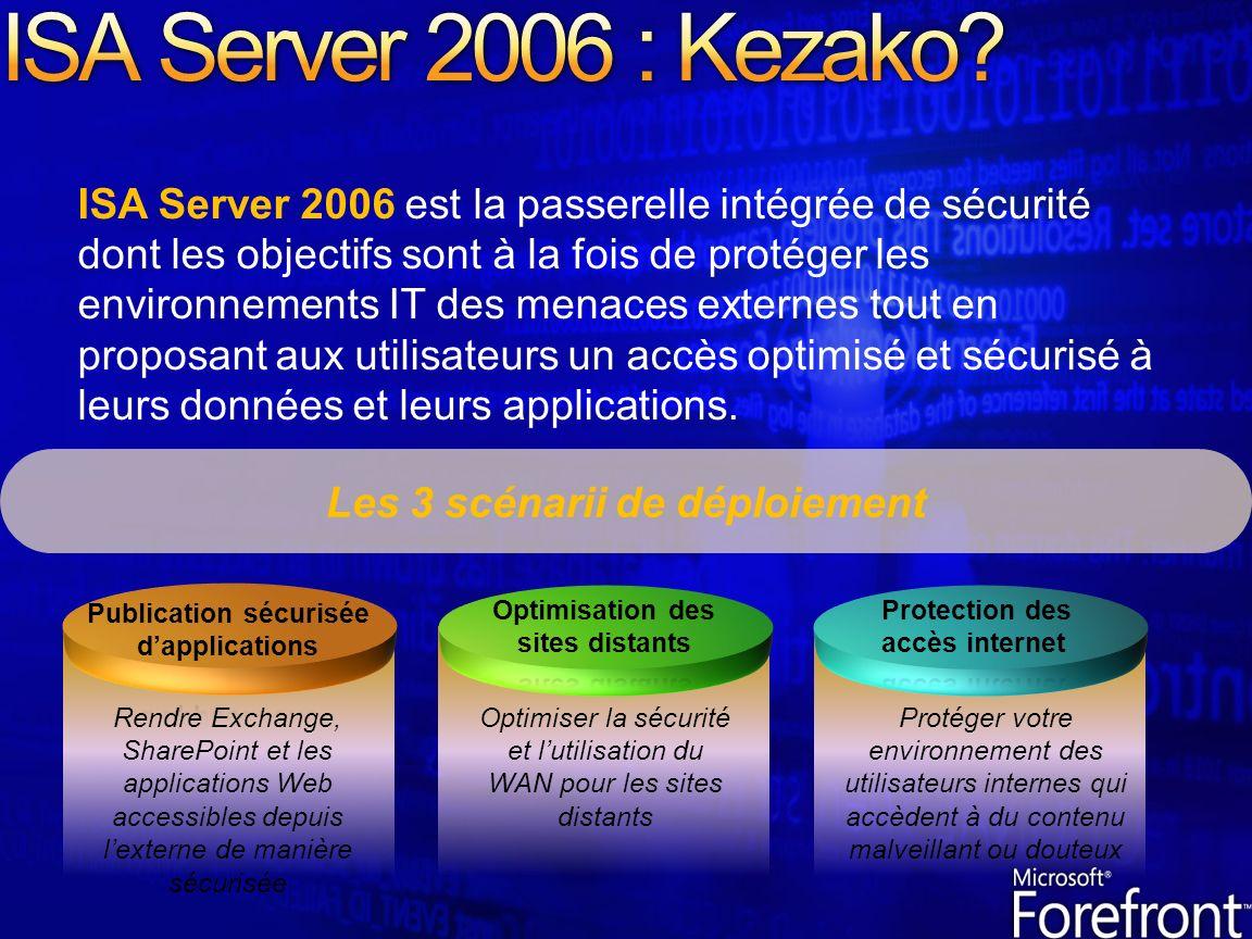 ISA Server 2006 est la passerelle intégrée de sécurité dont les objectifs sont à la fois de protéger les environnements IT des menaces externes tout en proposant aux utilisateurs un accès optimisé et sécurisé à leurs données et leurs applications.