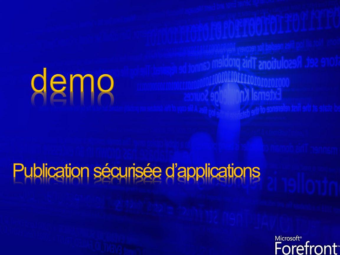Création dun contexte SSO pour laccès à différents serveurs Mécanismes spécfiques de publication Exchange & SPS Mécanisme de translation des liens internes automatique Support des authentifications Kerberos & NTLM Support des cartes à puce & OTP Authentification sur Active Directory en LDAP Load balancing des fermes de serveur Uniquement le trafic valide peut atteindre les ressources internes grâce à la pré-authentification Inspection des flux cryptés grâce au bridging SSL