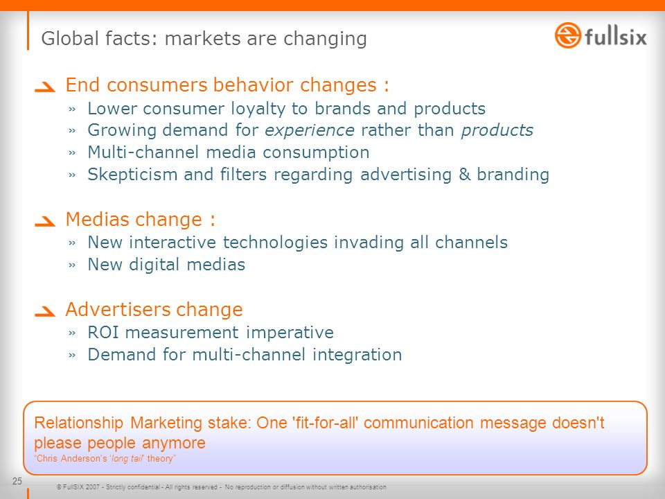 25 © FullSIX 2007 - Strictly confidential - All rights reserved - No reproduction or diffusion without written authorisation Global facts: markets are changing End consumers behavior changes : » Lower consumer loyalty to brands and products » Growing demand for experience rather than products » Multi-channel media consumption » Skepticism and filters regarding advertising & branding Medias change : » New interactive technologies invading all channels » New digital medias Advertisers change » ROI measurement imperative » Demand for multi-channel integration Relationship Marketing stake: One fit-for-all communication message doesn t please people anymore Chris Anderson s long tail theory