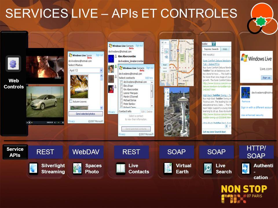 SERVICES LIVE – APIs ET CONTROLES Web Controls WebDAV SOAP REST HTTP/ SOAP Service APIs Silverlight Streaming SpacesPhotoLiveSearchVirtualEarth Authen