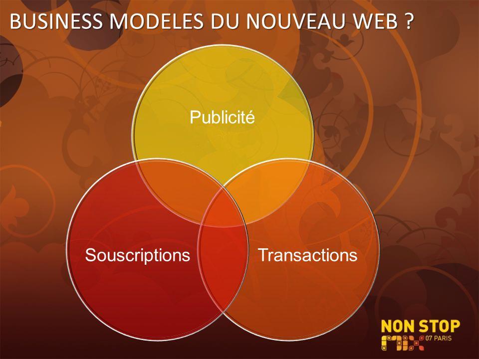 BUSINESS MODELES DU NOUVEAU WEB ? Publicité TransactionsSouscriptions