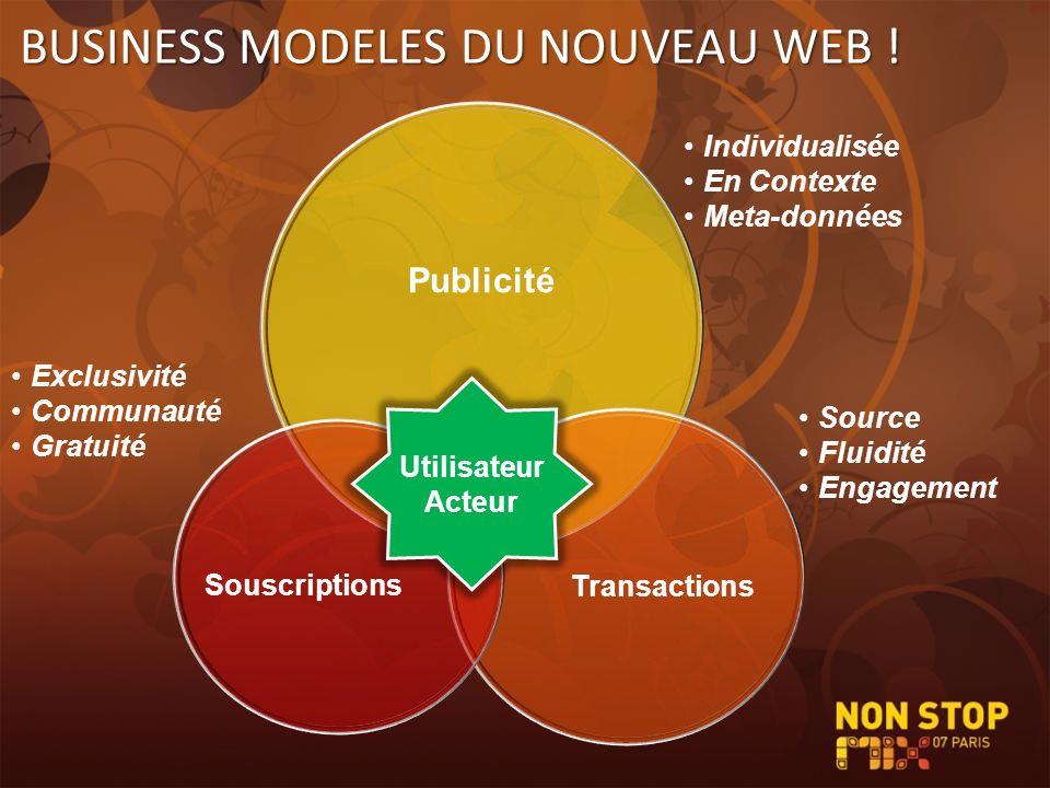 Publicité Transactions Souscriptions BUSINESS MODELES DU NOUVEAU WEB ! Utilisateur Acteur Individualisée En Contexte Meta-données Exclusivité Communau
