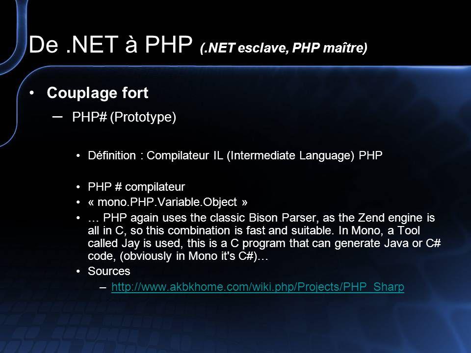 De.NET à PHP (.NET esclave, PHP maître) Couplage lâche – XML-RPC ou REST Définition : Protocole permettant d invoquer un objet distant en fournissant les paramètres nécessaires à l appel dans un message au format XML et en utilisant le moyen de communication HTTP.