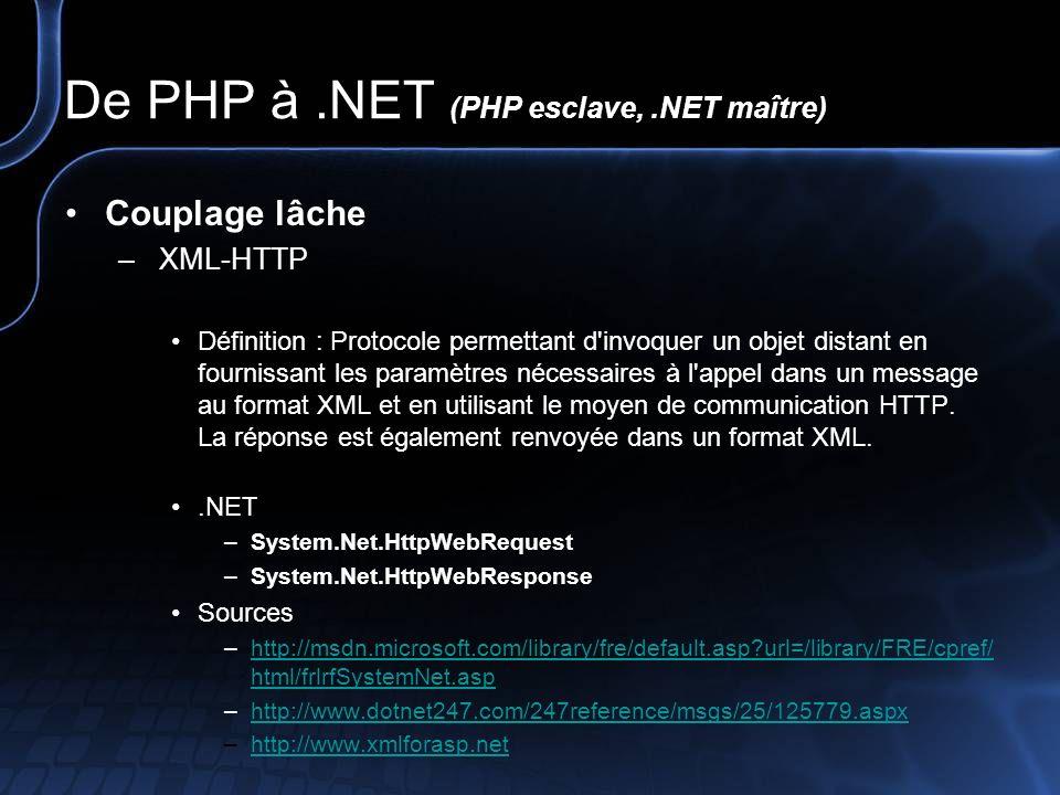 De PHP à.NET (PHP esclave,.NET maître) Couplage lâche – Services Web Définition : Application web pouvant interagir dynamiquement avec d autres programmes en utilisant des protocoles d échanges basé sur XML comme SOAP, XML-RPC ou XMLP..NET –System.Web.Services Sources –http://msdn.microsoft.com/library/fre/default.asp?url=/library/FRE/cpref/ html/frlrfsystemwebservicesprotocols.asphttp://msdn.microsoft.com/library/fre/default.asp?url=/library/FRE/cpref/ html/frlrfsystemwebservicesprotocols.asp –http://www.microsoft.com/france/msdn/technos/webservices.mspxhttp://www.microsoft.com/france/msdn/technos/webservices.mspx –http://www.xmlforasp.net/CodeBank.aspx?codeType=webserviceshttp://www.xmlforasp.net/CodeBank.aspx?codeType=webservices Source : http://www.journaldunet.com/encyclopedie