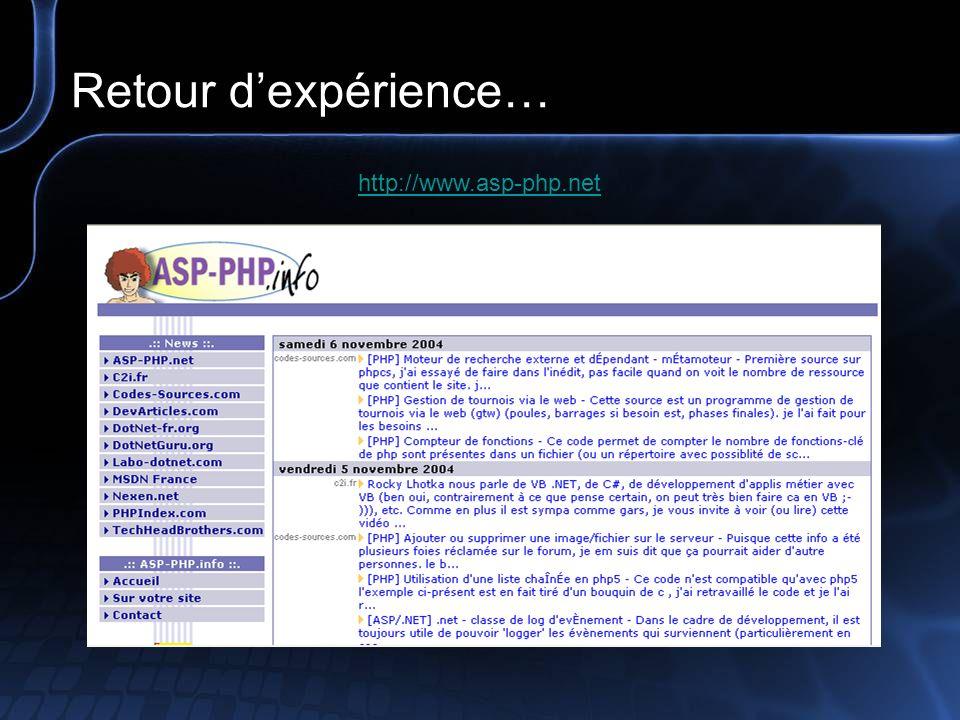 Retour dexpérience… http://www.codes-sources.com