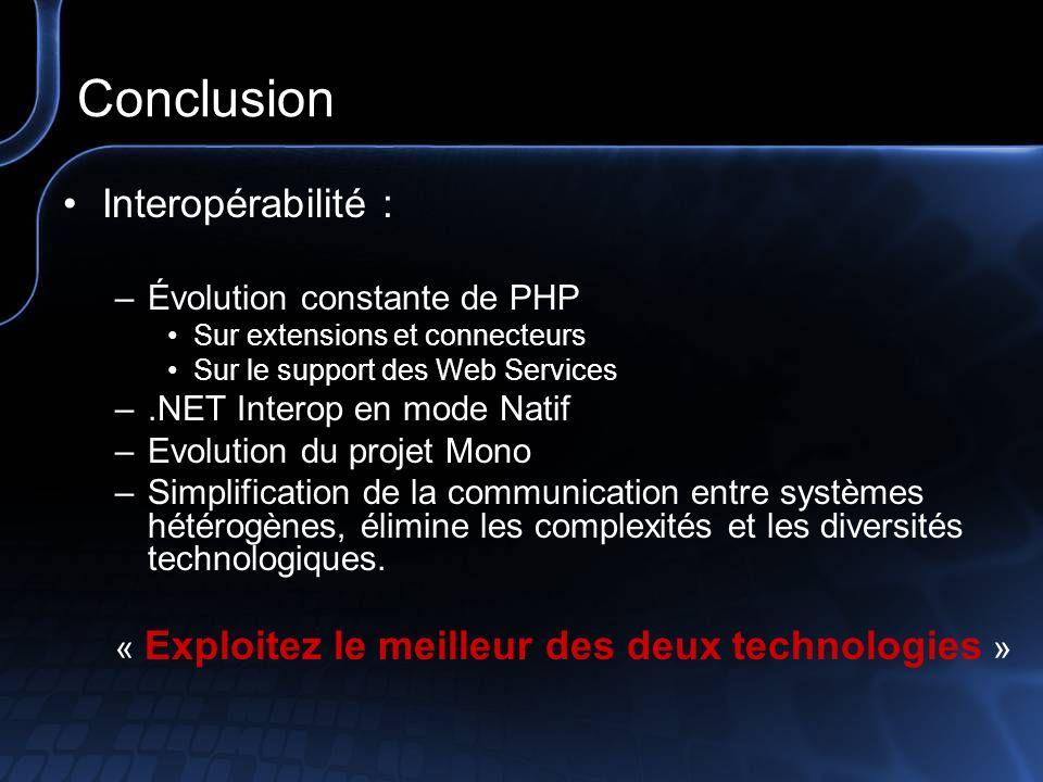 Références & Liens PHP5 –http://www.php.net/downloads.phphttp://www.php.net/downloads.php Manuel PHP4 – PHP5 –http://www.php.net/manual/fr/index.phphttp://www.php.net/manual/fr/index.php –http://www.php.net/download-docs.phphttp://www.php.net/download-docs.php Install de php5 sous IIS –http://www.asp-php.net/ressources/bouts_de_code.php?codid=60http://www.asp-php.net/ressources/bouts_de_code.php?codid=60 Projet Mono –http://www.go-mono.orghttp://www.go-mono.org Faire un agrégateur en PHP 5 –http://www.asp-php.net/scripts/asp-php/php5-agregateur_rss.php?page=2http://www.asp-php.net/scripts/asp-php/php5-agregateur_rss.php?page=2 Communautés –http://www.phpfrance.comhttp://www.phpfrance.com –http://www.asp-php.nethttp://www.asp-php.net –http://www.codes-sources.comhttp://www.codes-sources.com