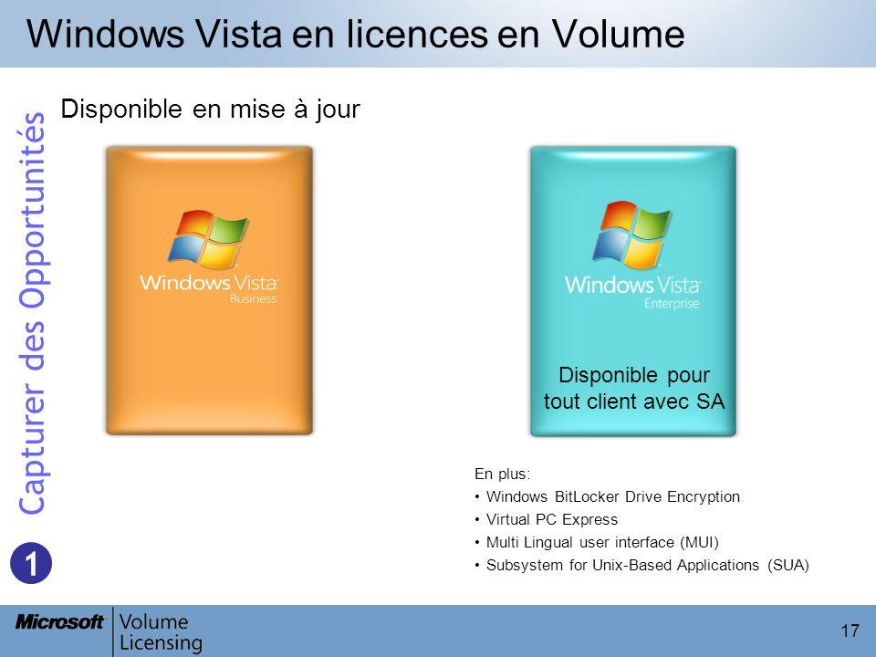 17 Windows Vista en licences en Volume Disponible en mise à jour Disponible pour tout client avec SA En plus: Windows BitLocker Drive Encryption Virtu