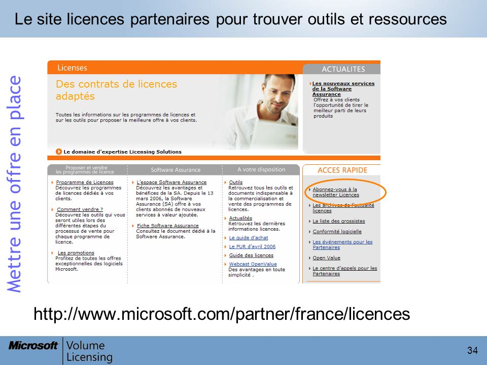 34 Le site licences partenaires pour trouver outils et ressources http://www.microsoft.com/partner/france/licences Mettre une offre en place