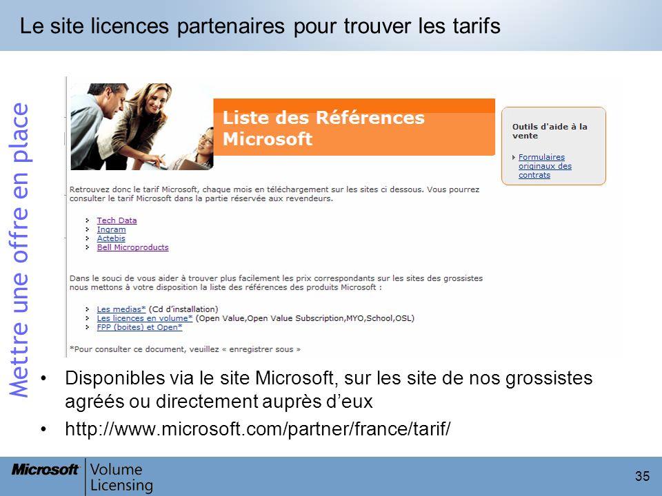 35 Le site licences partenaires pour trouver les tarifs Disponibles via le site Microsoft, sur les site de nos grossistes agréés ou directement auprès