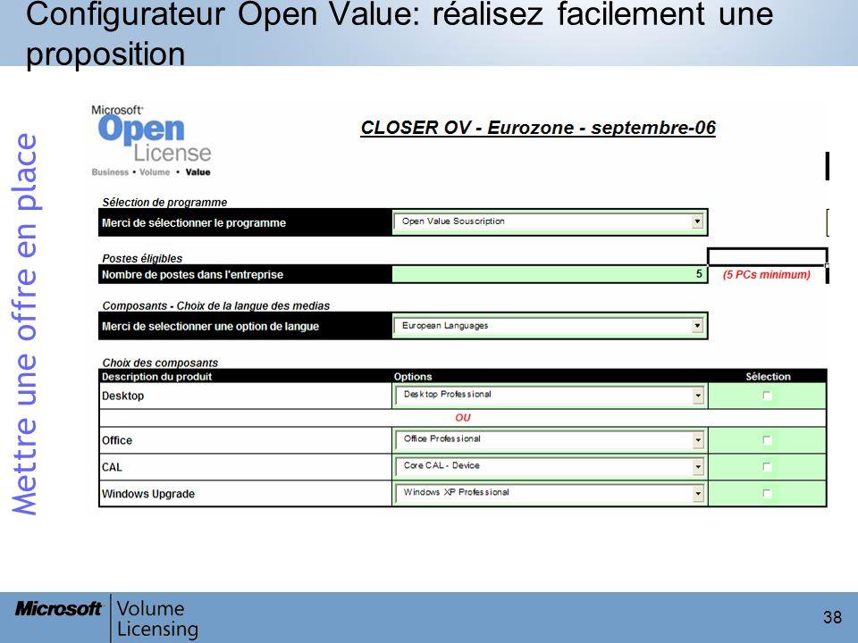 38 Configurateur Open Value: réalisez facilement une proposition Mettre une offre en place