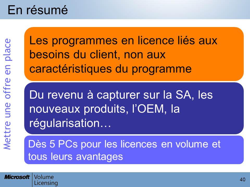 40 En résumé Les programmes en licence liés aux besoins du client, non aux caractéristiques du programme Du revenu à capturer sur la SA, les nouveaux