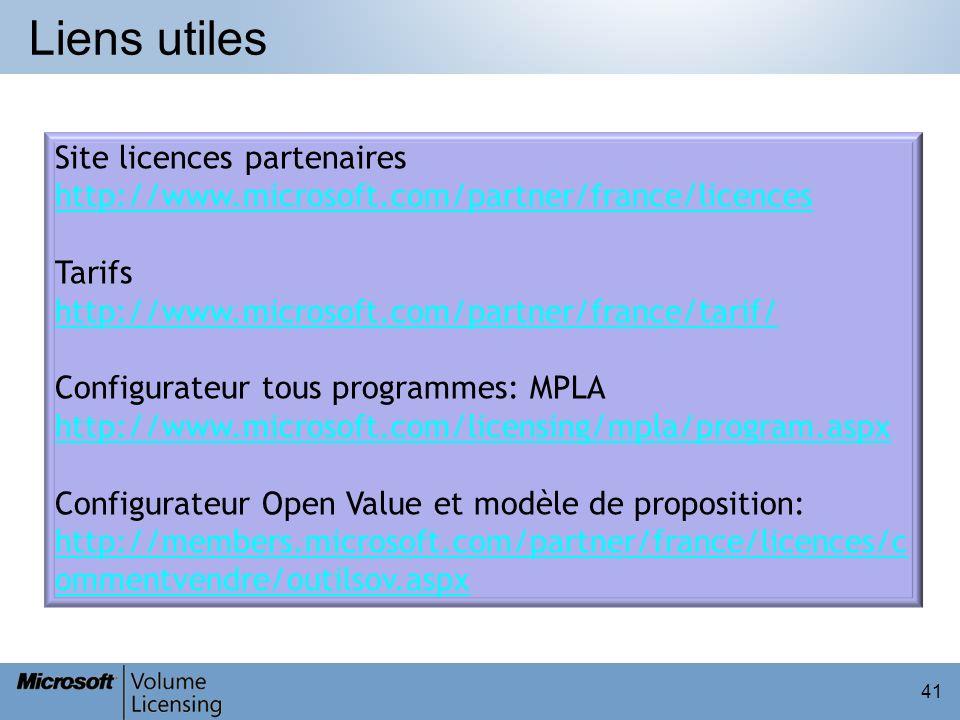Liens utiles 41 Site licences partenaires http://www.microsoft.com/partner/france/licences Tarifs http://www.microsoft.com/partner/france/tarif/ Confi