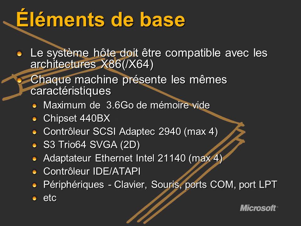 Éléments de base Le système hôte doit être compatible avec les architectures X86(/X64) Chaque machine présente les mêmes caractéristiques Maximum de 3