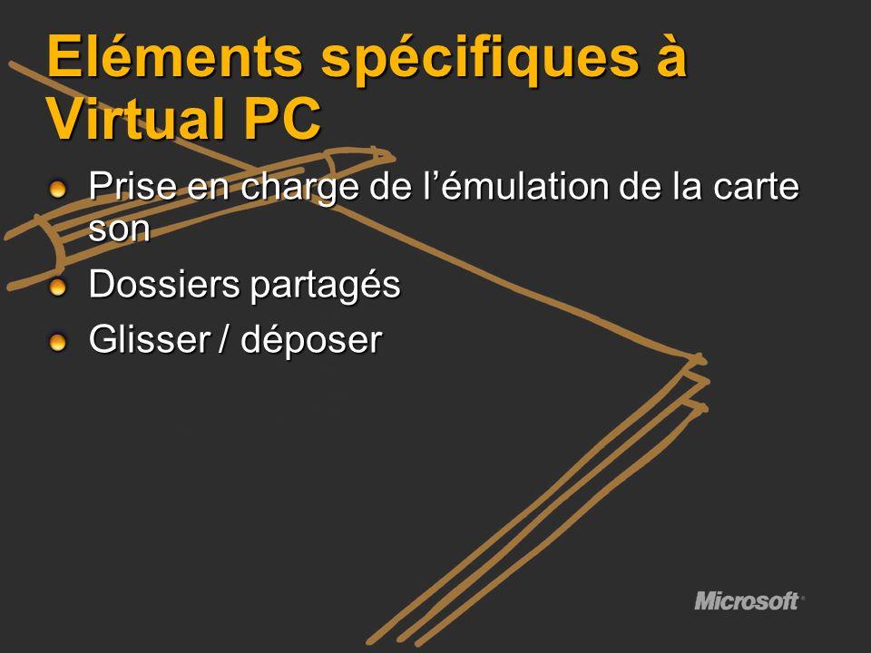 Eléments spécifiques à Virtual PC Prise en charge de lémulation de la carte son Dossiers partagés Glisser / déposer