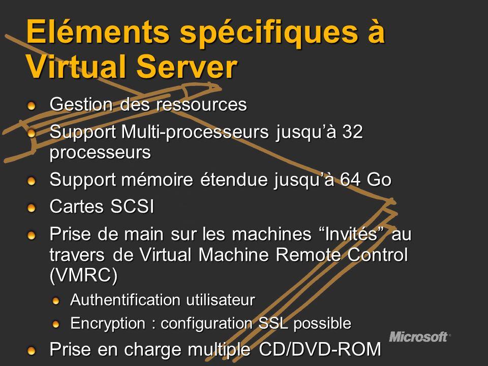 Eléments spécifiques à Virtual Server Gestion des ressources Support Multi-processeurs jusquà 32 processeurs Support mémoire étendue jusquà 64 Go Cart
