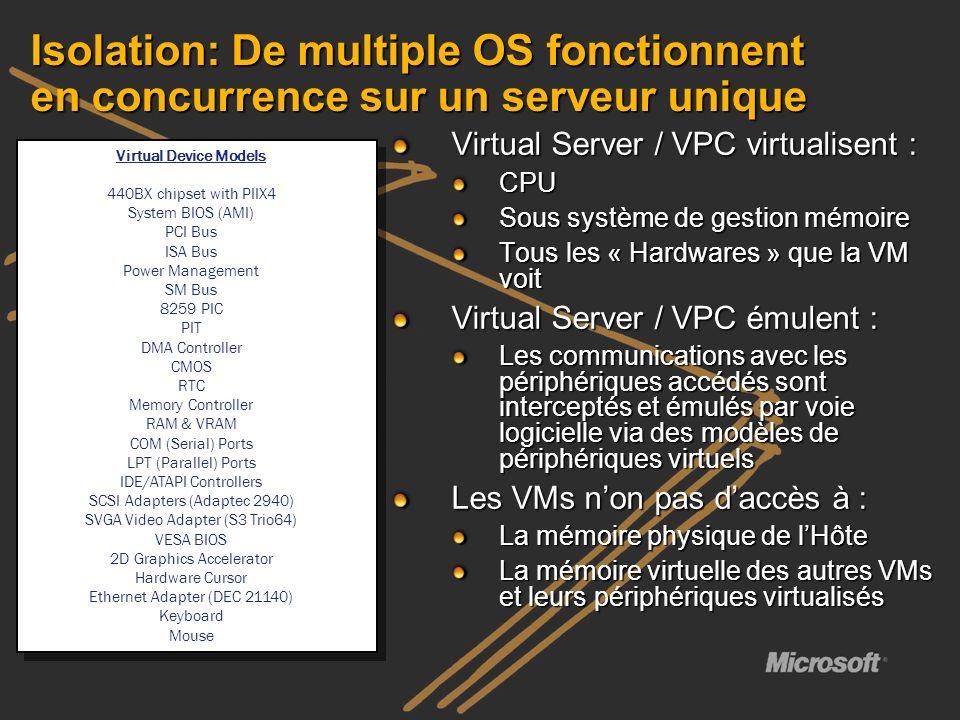 Isolation: De multiple OS fonctionnent en concurrence sur un serveur unique Virtual Server / VPC virtualisent : CPU Sous système de gestion mémoire To