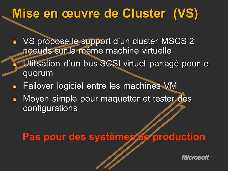 Mise en œuvre de Cluster (VS) VS propose le support dun cluster MSCS 2 noeuds sur la même machine virtuelle Utilisation dun bus SCSI virtuel partagé p